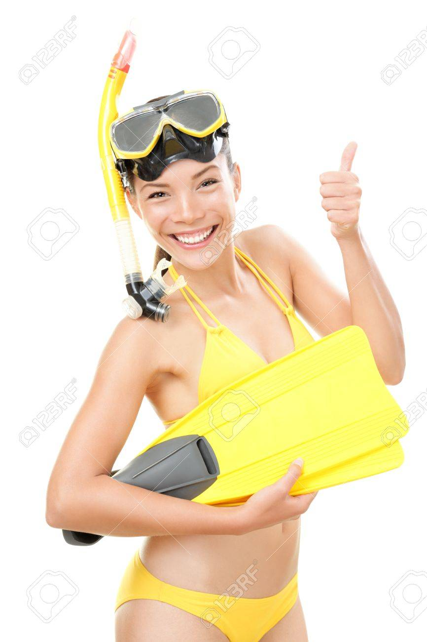 Snorkeling holidays woman in bikini isolated in studio on white background. Beautiful young mixed race Asian Caucasian female model. Stock Photo - 9301542