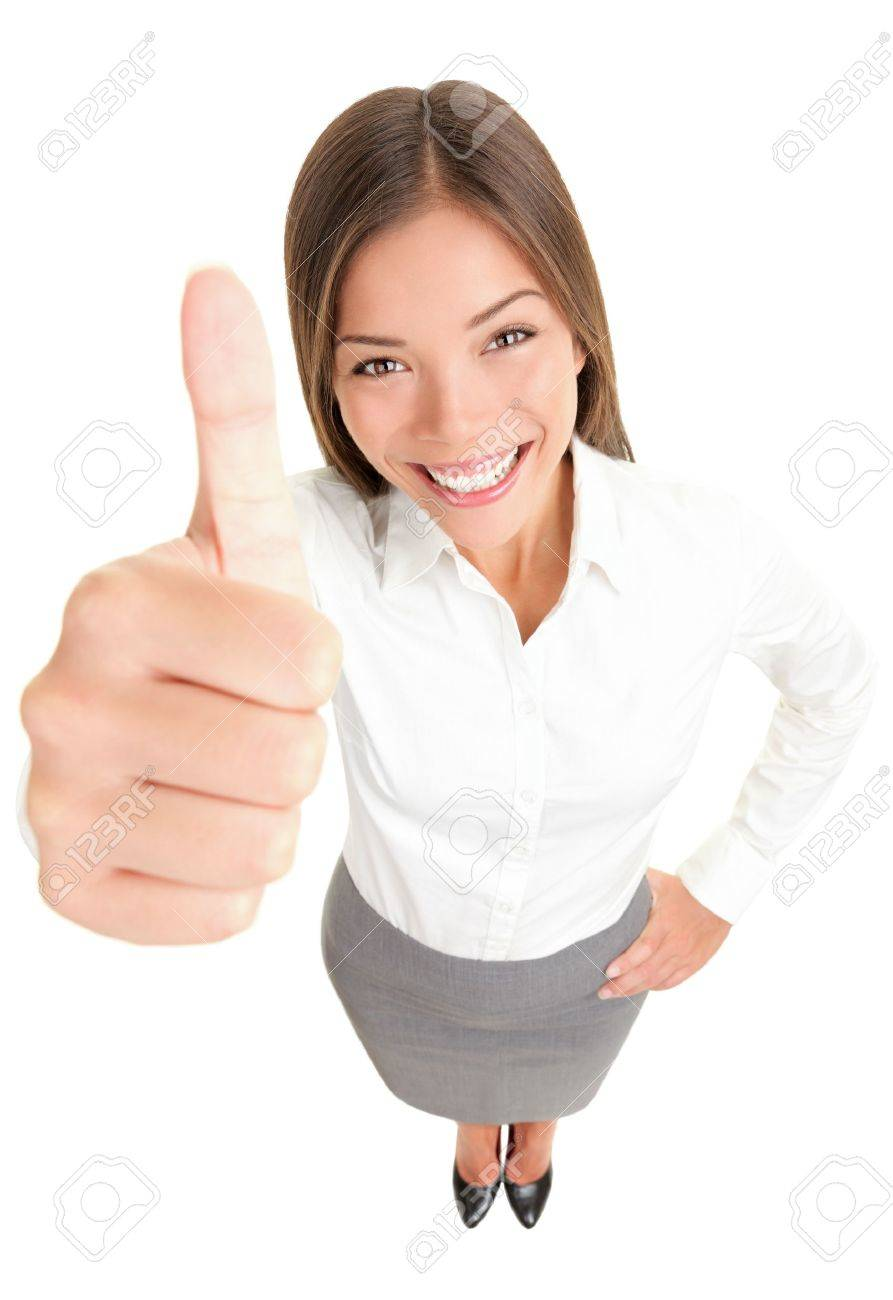 thumbs up success w happy smiling high angle view of young stock photo thumbs up success w happy smiling high angle view of young successful mixed race asian caucasian businessw isolated in full body on