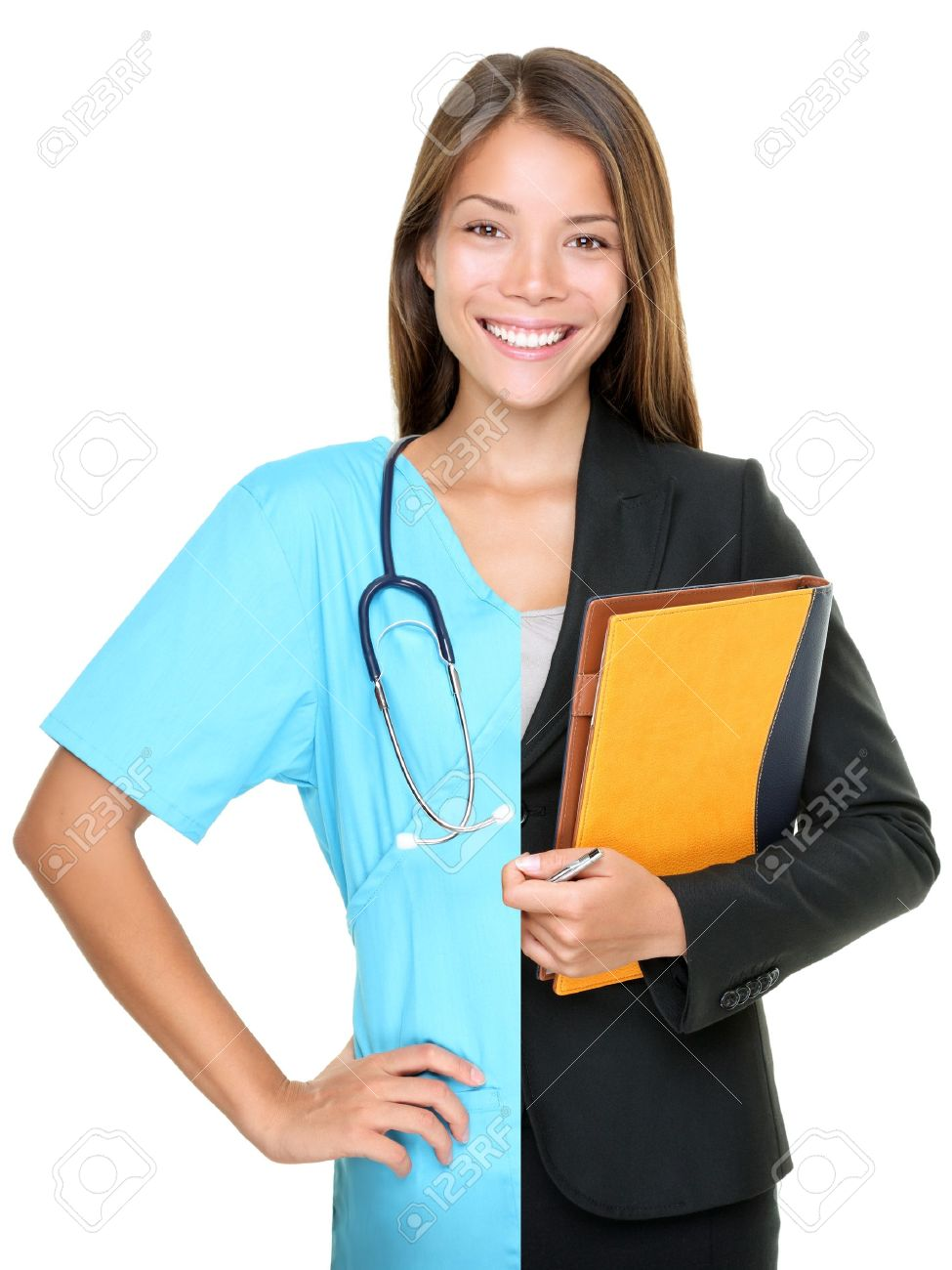 career choice concept w split half and half in businessw career choice concept w split half and half in businessw and medical doctor nurse