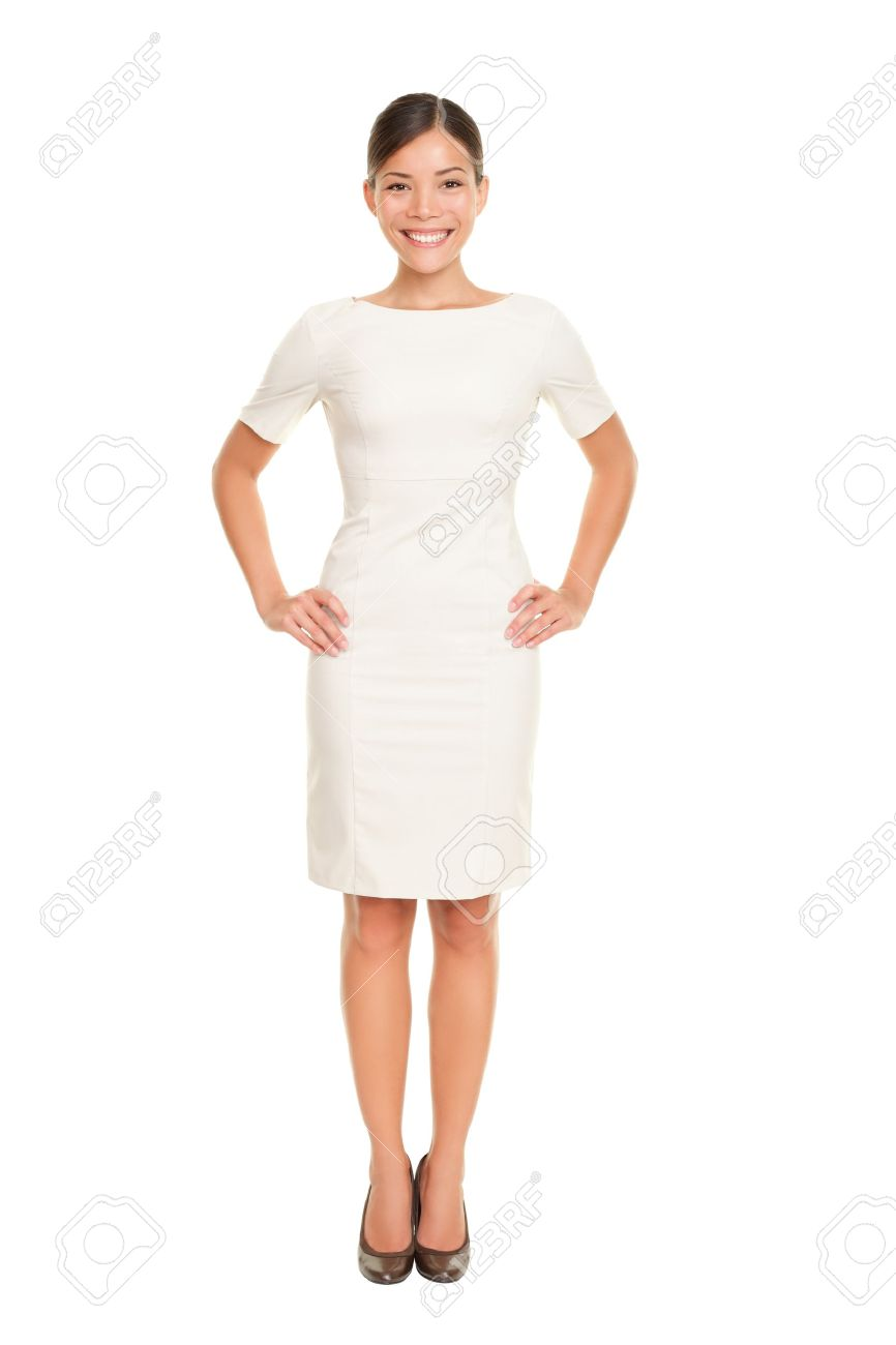 Full body woman portrait standing in business dress suit in full length isolated on white background. Beautiful young mixed race chinese asian / white caucasian female businesswoman in her mid twenties. Stock Photo - 10283032