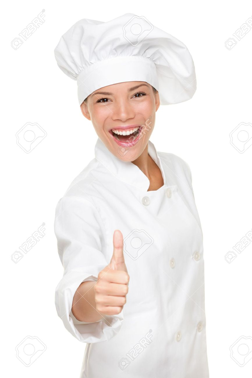Chef woman - happy thumbs up. Smiling and cheerful female chef, cook or baker in uniform and hat isolated on white background. Stock Photo - 10437893