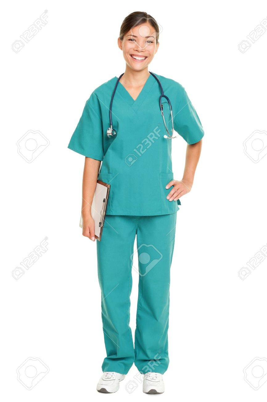 Nurse or young doctor standing smiling isolated on white background in full body. Woman medical professional in green scrubs smiling happy. Mixed race ethnic Chinese Asian and Caucasian female model. Stock Photo - 10437948