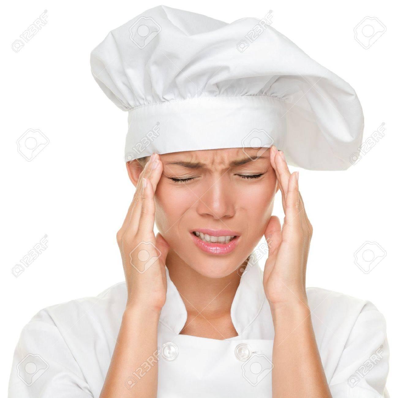 Köchin bei der arbeit  Chef Kopfschmerzen Und Stress Bei Der Arbeit. Frau Bäcker, Koch Oder ...