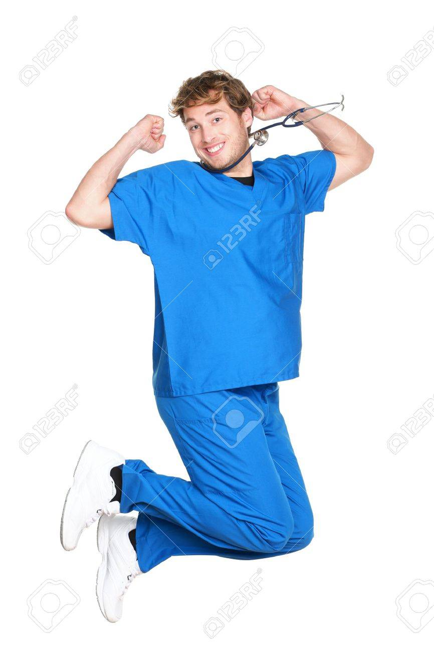 career jump images stock pictures royalty career jump career jump happy male nurse or doctor jumping in blue scrubs smiling excited young