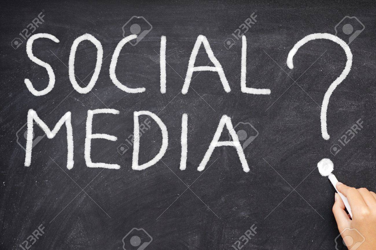Social media question mark. How can we use social media networking? What is social media. Blackboard business concept photo. Stock Photo - 12288437