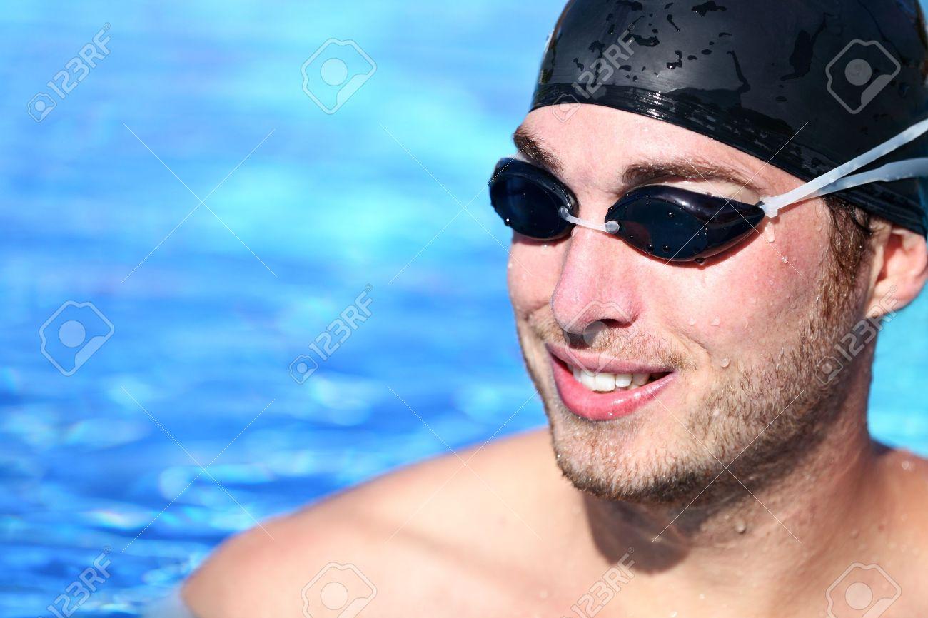276f512aebd0 Male Swimmer Portrait Man swimming model smiling happy wearing..