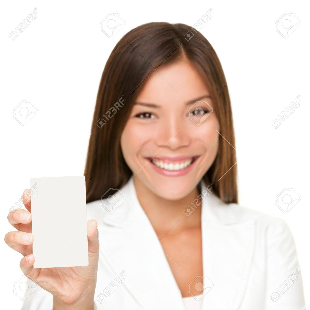 sign card woman holding paper like mobile phone or smart phone