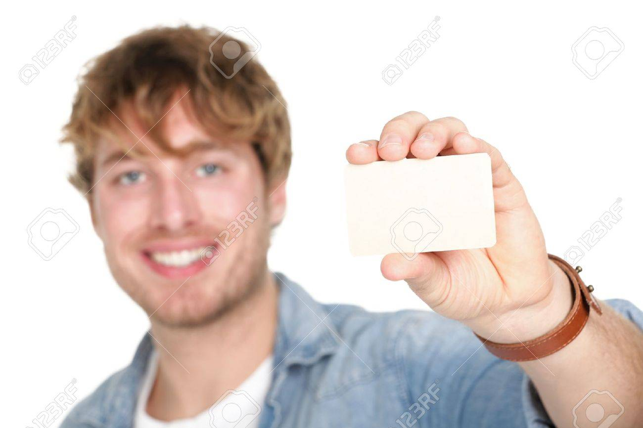 Business Card Man. Casual Young Man Showing Blank Empty Card ...