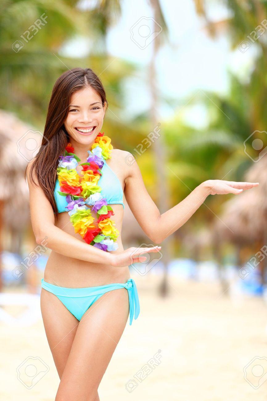 Hawaii Tanz Hula Tänzerin Urlaub Konzept Mit Schönen Gemischten