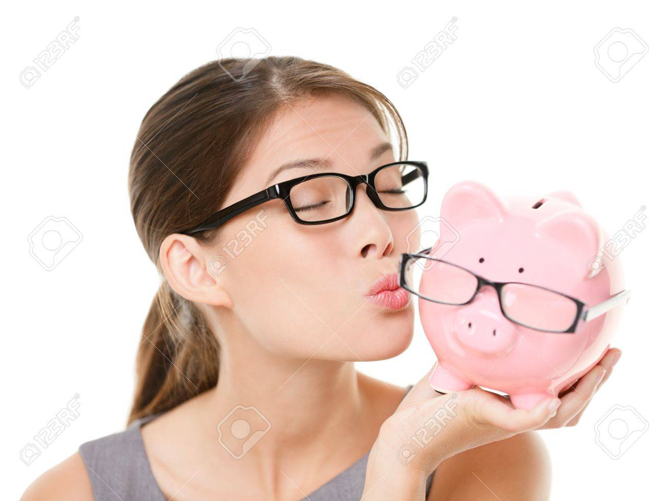 eyewear glasses  Glasses Sale Concept Happy Woman Kissing Piggy Bank Wearing ...