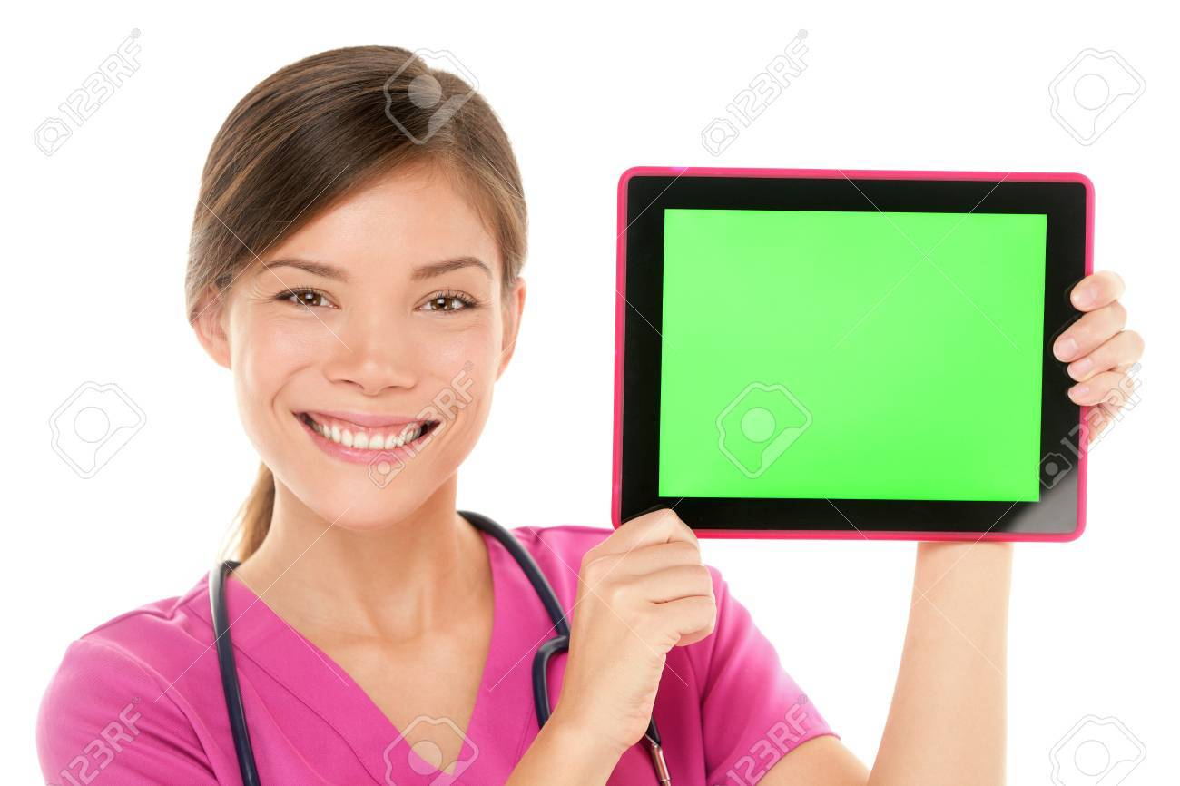 Medical nurse doctor showing tablet pc computer green screen with copy space Stock Photo - 20871144