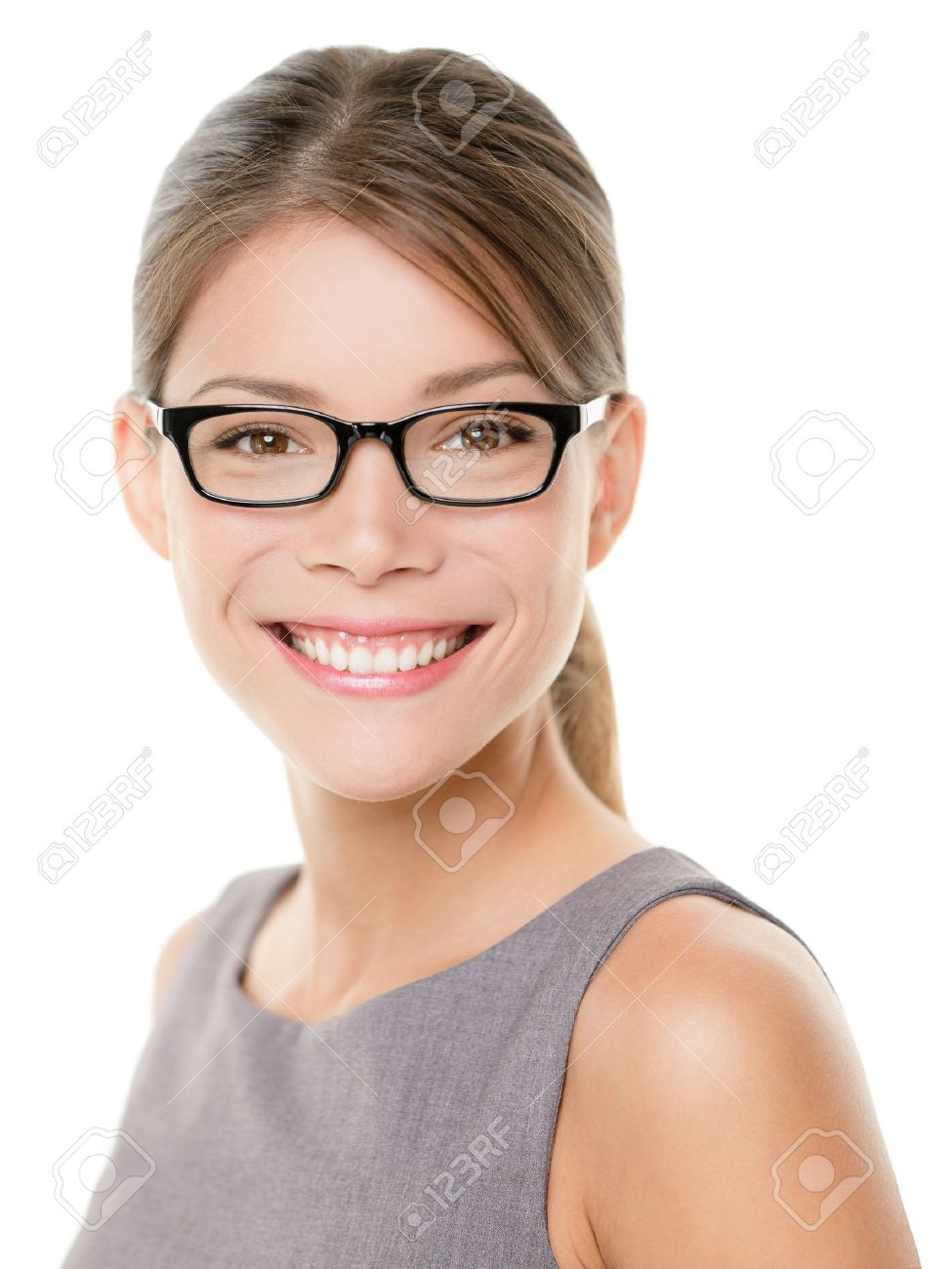 Glasses Eyewear Woman Happy Portrait Looking At Camera With Big ...