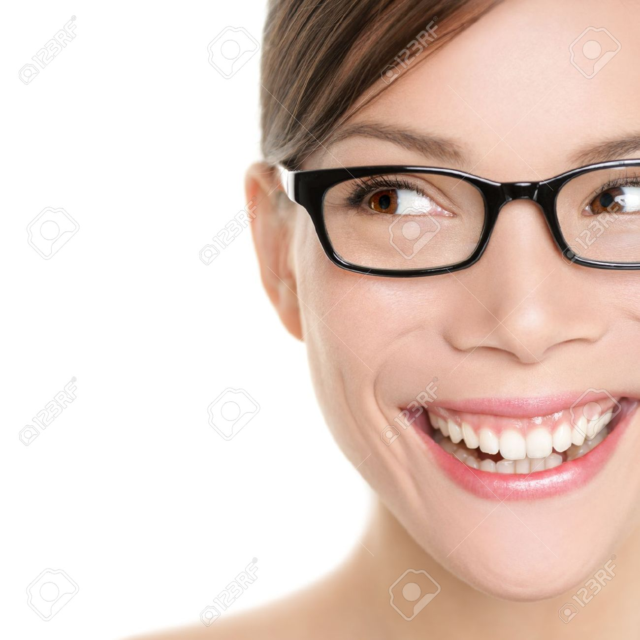 Woman Wearing Glasses Looking Happy To Side. Eyewear Woman With ...