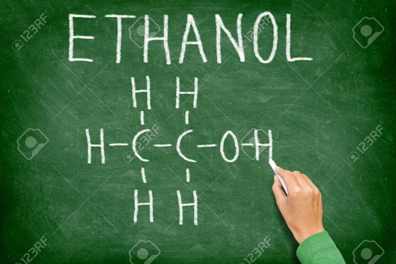 Ethanol alcohol chemical molecule structure on chalkboard science ethanol alcohol chemical molecule structure on chalkboard science teacher or chemistry student drawing chemical formula buycottarizona Choice Image