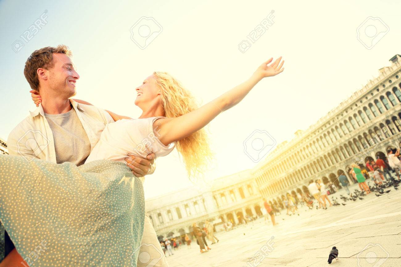 Romantic Couple In Love Having Fun Embracing And Laughing In.. Stock ...