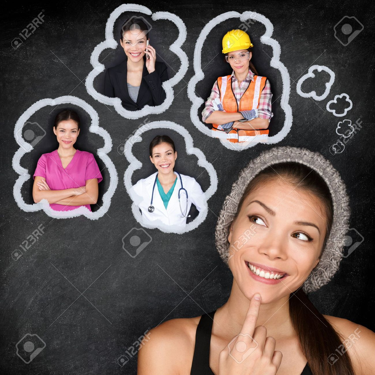 Career choice options - student thinking of future education. Young Asian woman contemplating career options smiling looking up at thought bubbles on a blackboard with images of different professions Stock Photo - 25512990