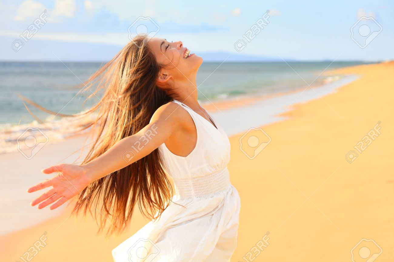 Free Happy Woman On Beach Enjoying Nature Natural Beauty Girl Stock Photo Picture And Royalty Free Image Image 27940446