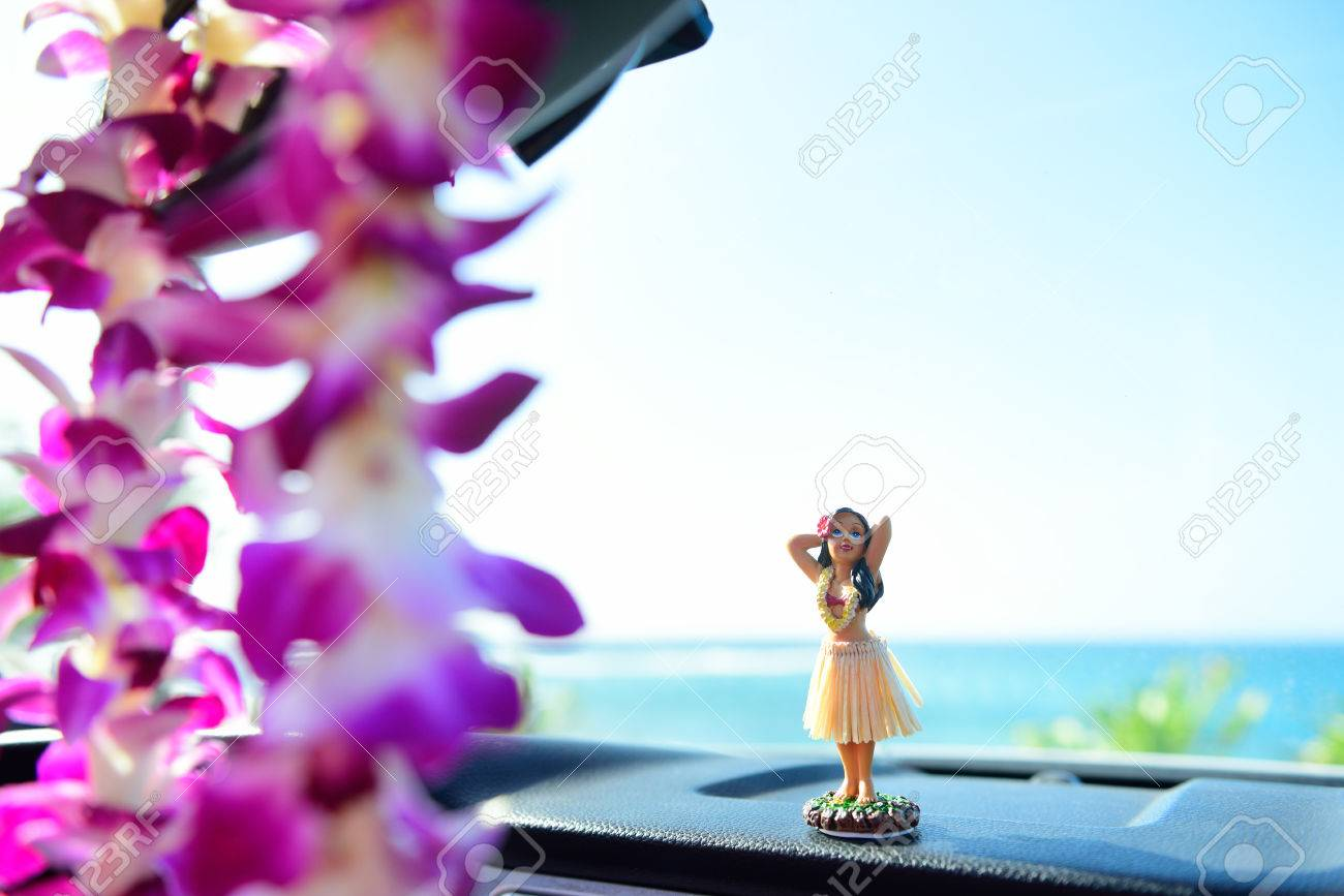 Lei stock photos royalty free lei images hawaii travel car hula girl dancing on dashboard and lei during road trip izmirmasajfo Gallery