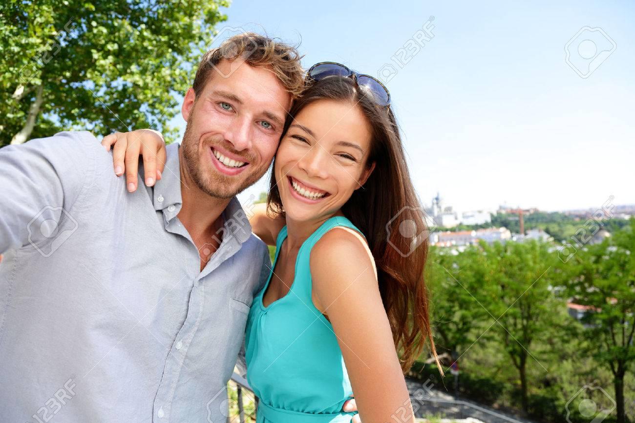 Asian caucasian couple