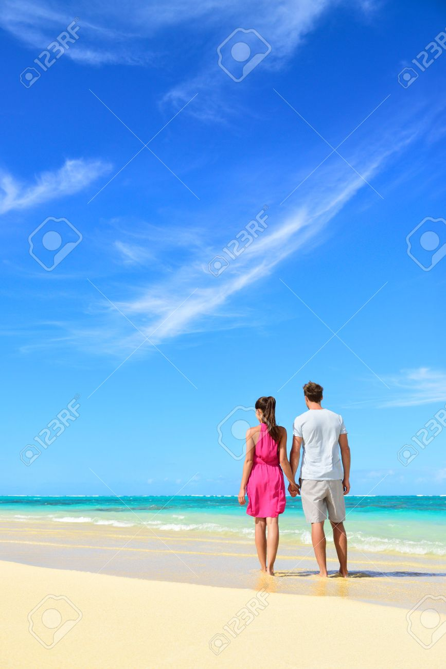 Beach With People Relaxing Vacation Couple On Summer Holidays Young Standing From