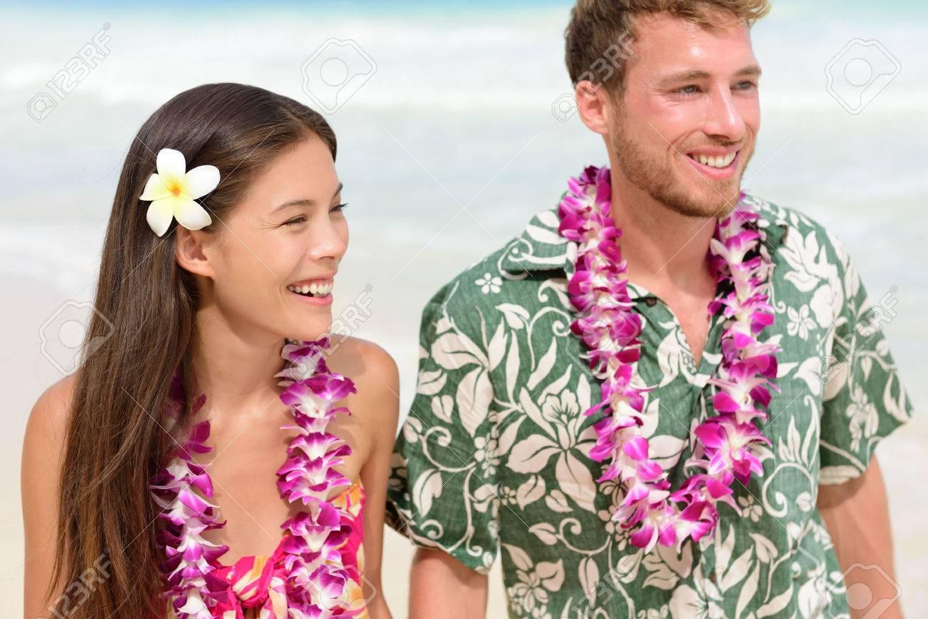 Happy Hawaii Beach Couple In Aloha Hawaiian Shirt Portrait Of