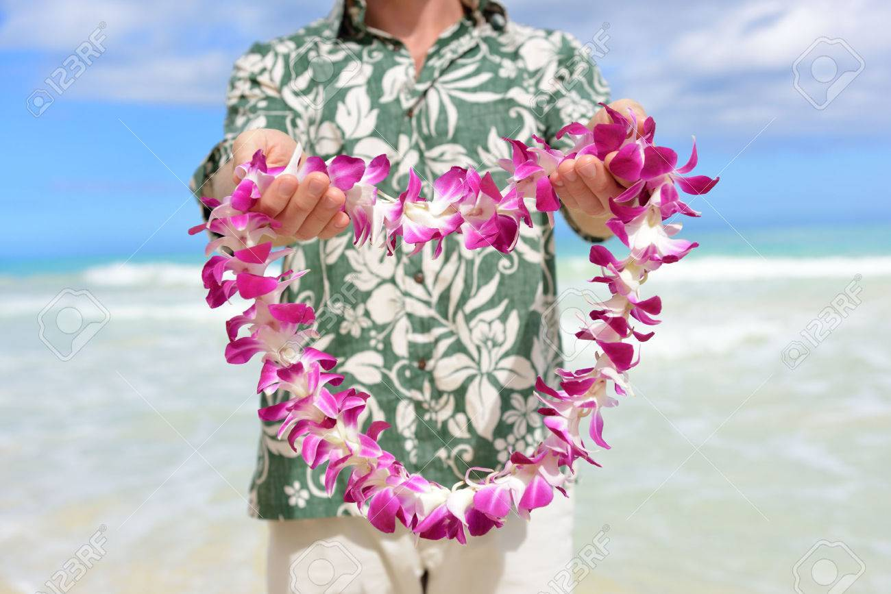 Hawaii tradition giving a hawaiian flowers lei portrait of a male hawaii tradition giving a hawaiian flowers lei portrait of a male person holding a izmirmasajfo Gallery