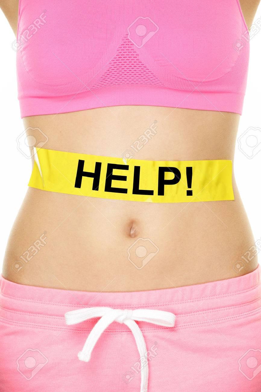 Magen-Hilfe-Konzept - Eine Frau Mit Einem Körpergewicht Problem ...