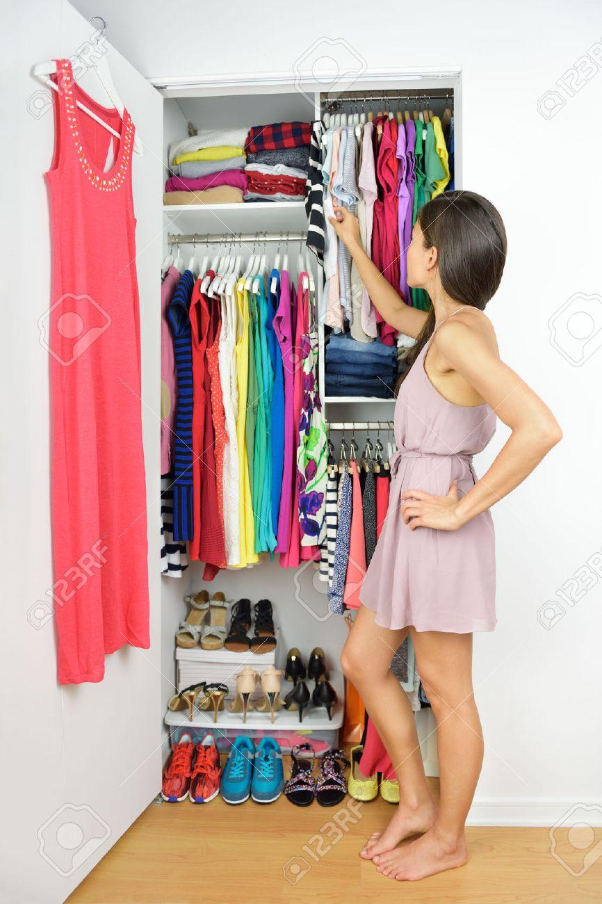 half off a7a0b 1d1f8 Home closet - woman choosing her fashion clothing. Shopping concept...