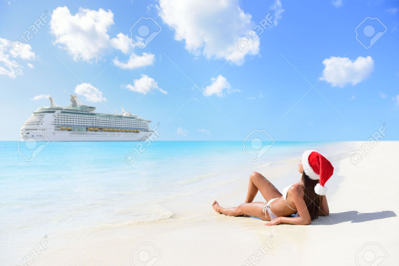 Christmas Cruise Travel Holidays In The Caribbean Islands. Woman ...