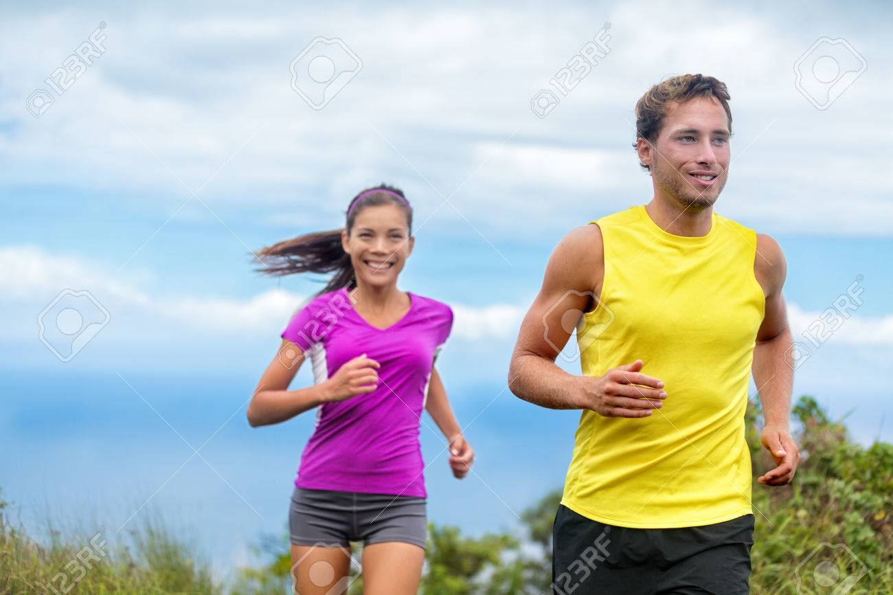 Healthy Sports People Trail Running Living An Active Life Happy