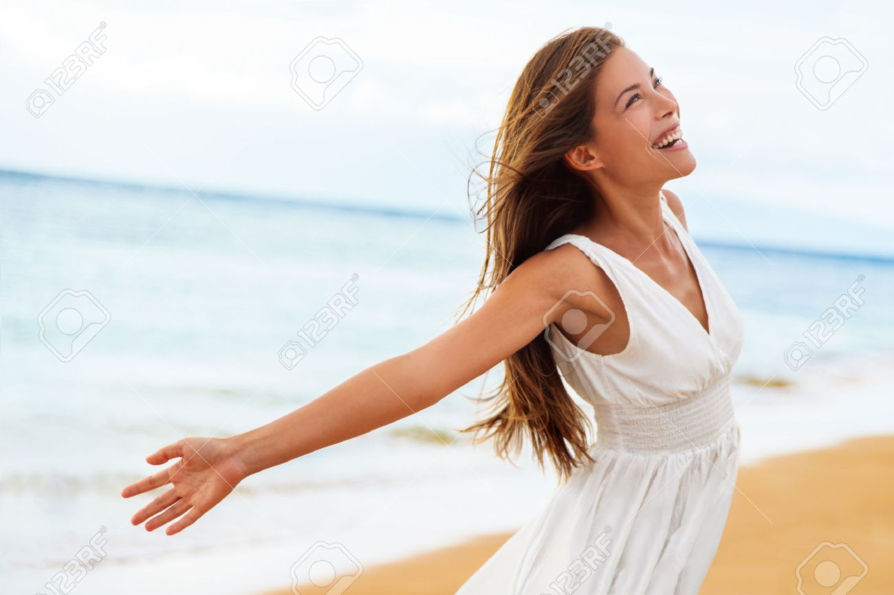 Free Happy Woman On Beach Enjoying Nature Natural Beauty Girl Stock Photo Picture And Royalty Free Image Image 65499620