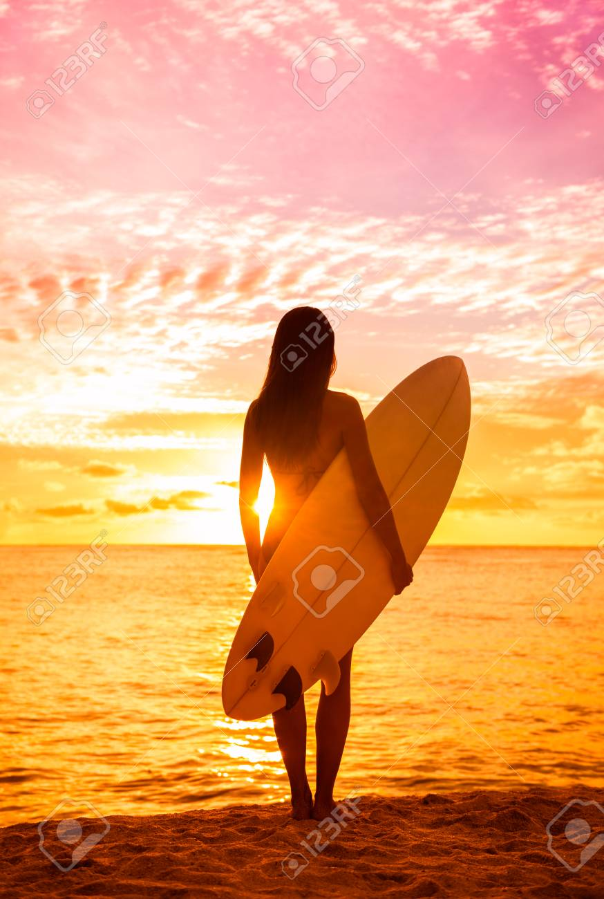 Beach Sunset Sexy Surfer Woman Surfing Lifestyle Relaxing Holding