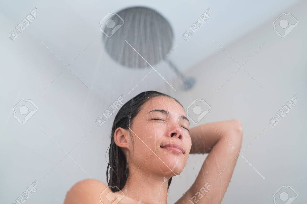 Hot asian girl taking shower