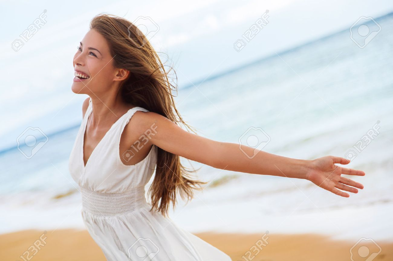 Free Happy Woman On Beach Enjoying Nature Natural Beauty Girl Stock Photo Picture And Royalty Free Image Image 77835451