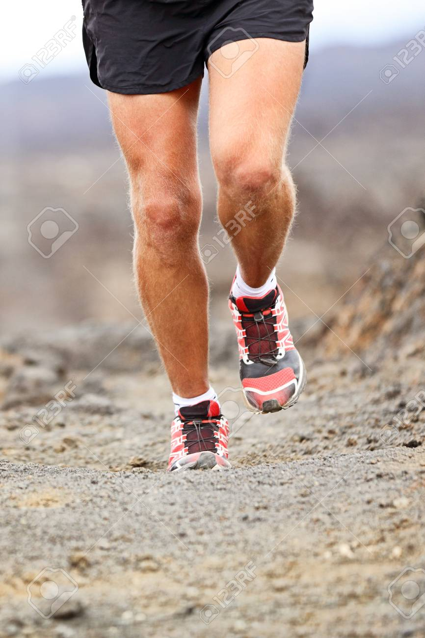 Sport Athlete Man Running Shoes Trail Desert Run Training Cardio For Marathon Race Legs Of