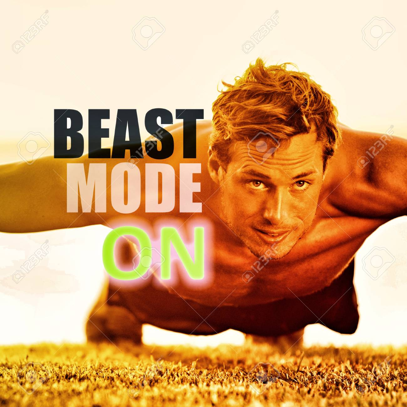 Fitness Man Working Out Exercise At Gym Inspirational Quotes