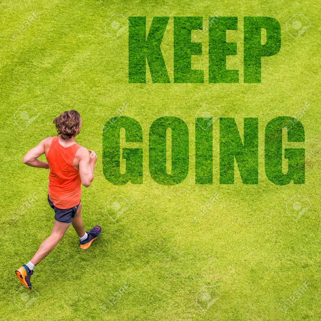 513728355a6 Running fitness inspiration motivation message written on grass texture.  Man runner with text