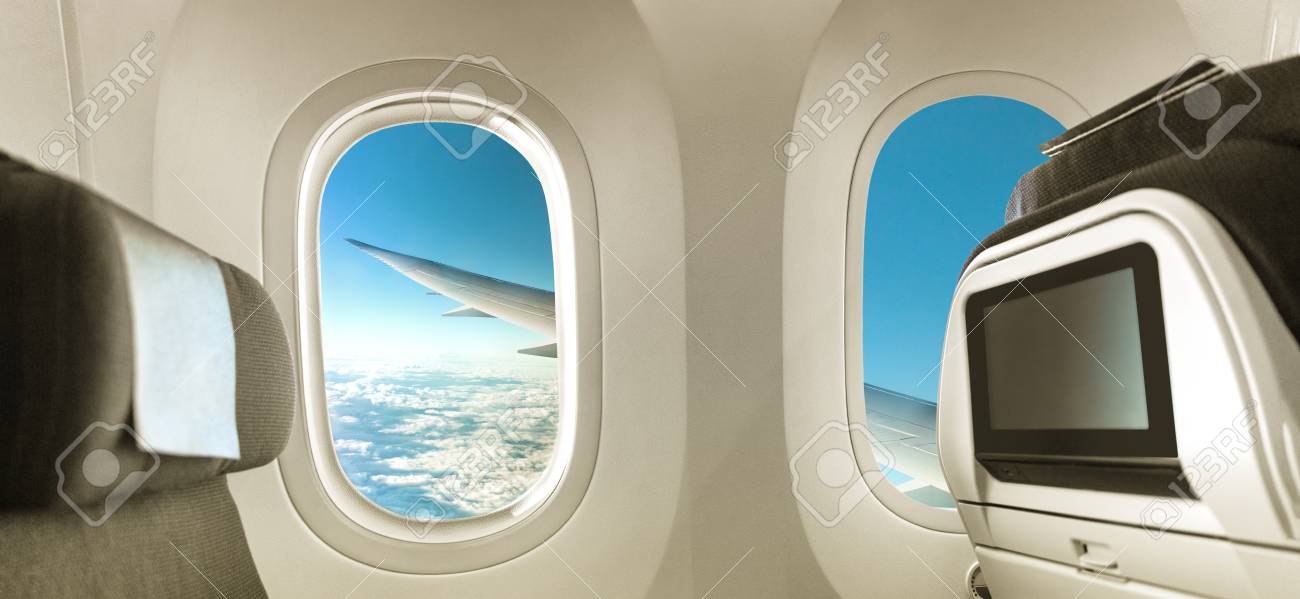 plane interior with window and seats banner panorama background
