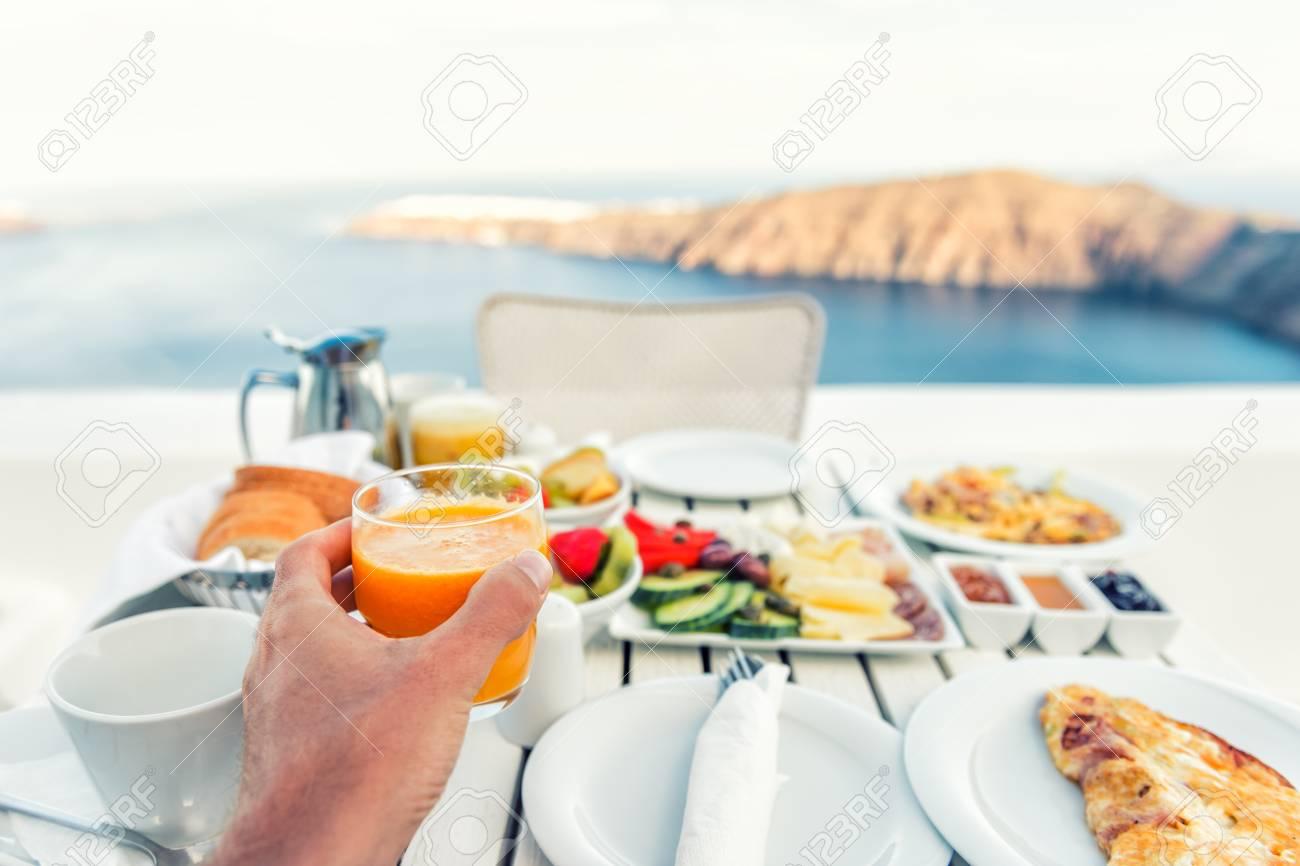Luxury travel resort breakfast in room service at fancy hotel