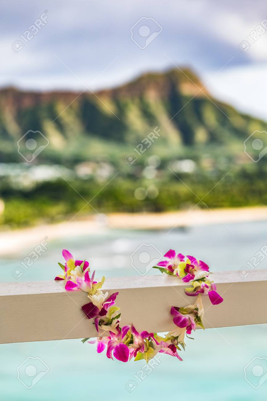 Hawaii travel background hawaiian lei flower necklace at holiday hawaii travel background hawaiian lei flower necklace at holiday resort for luau hula party with izmirmasajfo