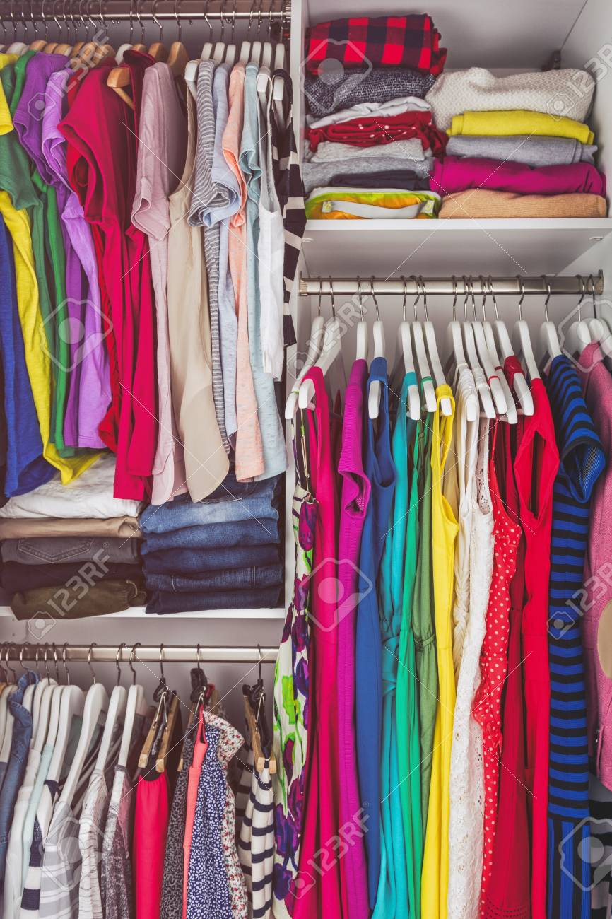 Picture of: Home Closet Bedroom Clean Wardrobe Of Women Fashion Clothing Stock Photo Picture And Royalty Free Image Image 110811529