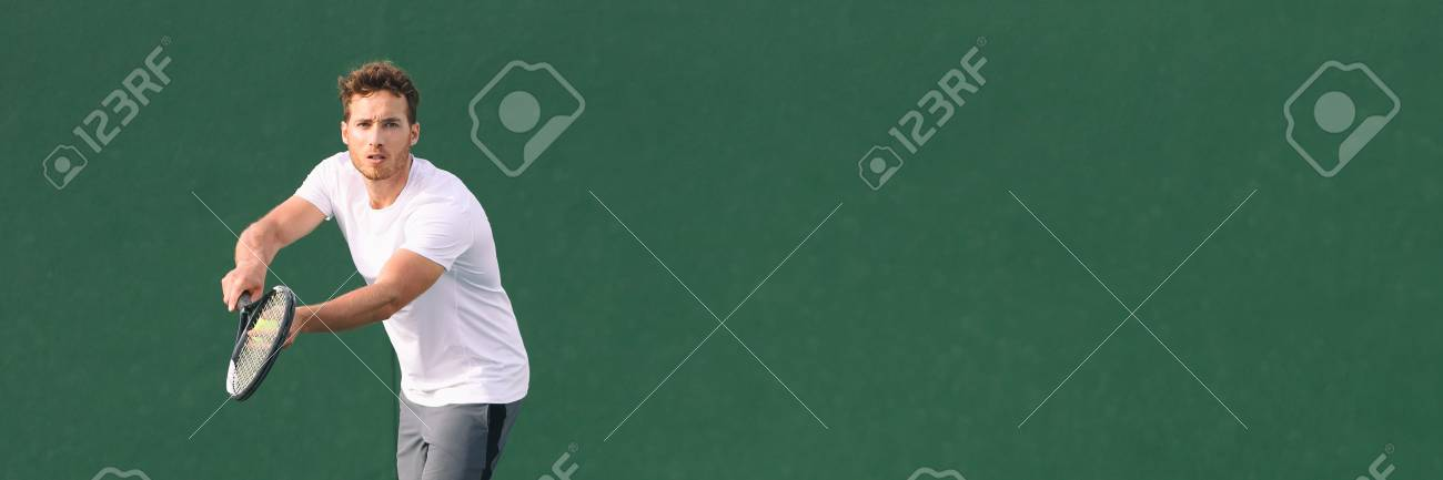 Tennis sport fitness man focused on serve at game. Male athlete tennis player. Concentration in sports. Panorama banner on green background. - 115599316