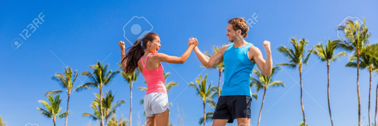 Success Fitness People Doing High Five Banner Challenge Success Stock Photo Picture And Royalty Free Image Image 117685091