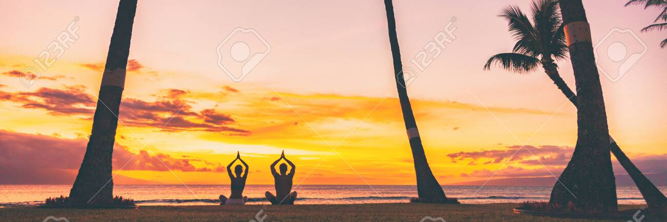 Yoga Meditation Retreat Landscape Panoramic Banner People Meditating Stock Photo Picture And Royalty Free Image Image 122804293