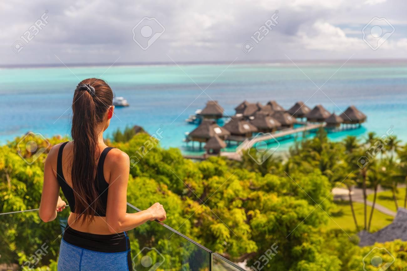 Luxury Bora Bora Hotel Resort Woman Tourist Overlooking View