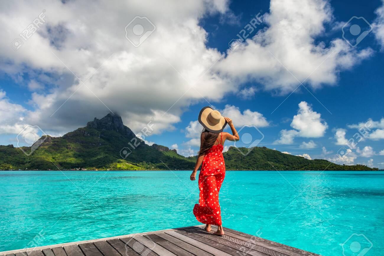 Bora Bora Island Luxury Resort Hotel Woman Relaxing At View Of