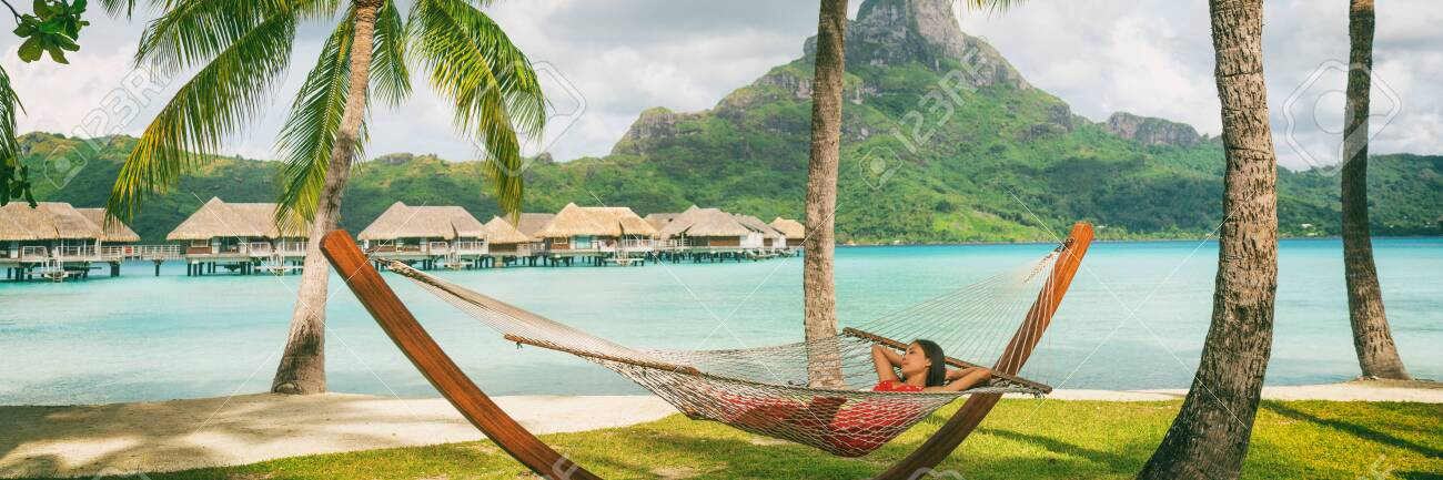 Luxury Vacation Hotel Panoramic Asian Woman Sleeping In Hammock