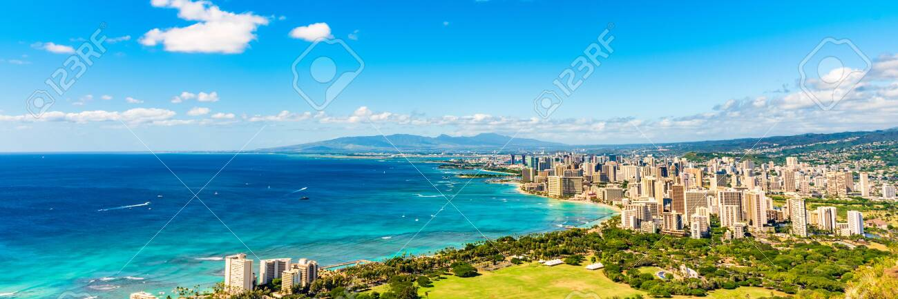 Hawaii Panoramic Banner View Of Honolulu Waikiki Beach Usa Summer