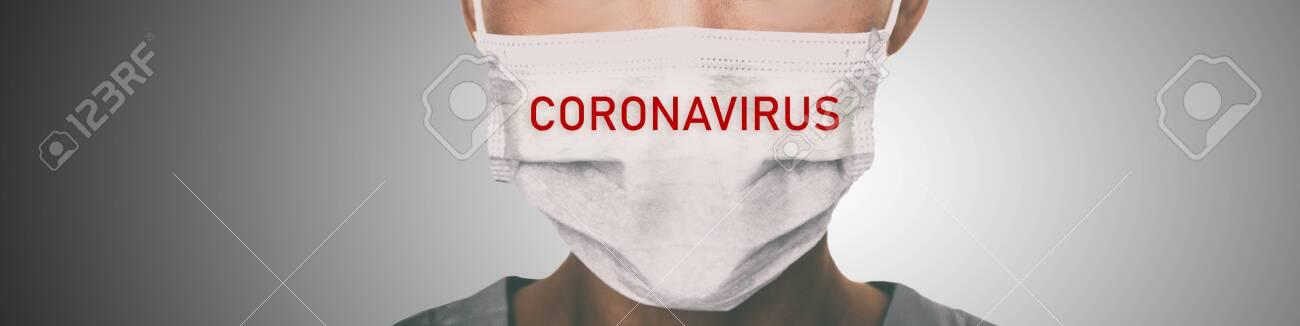 Coronavirus prevention panoramic banner doctor wearing surgical face mask against coronavirus. Panorama of medical staff people. - 140505762