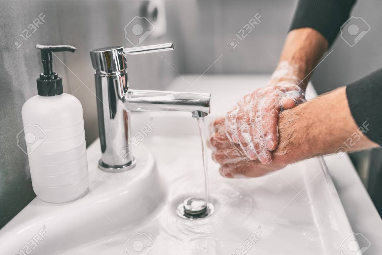 Washing hands rubbing with soap for virus prevention - 141626852